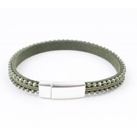 Leder Armband Metallkugeln grün