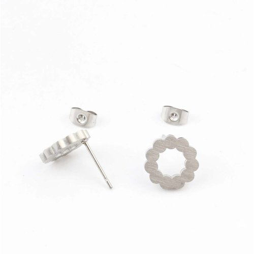 "Earring stainless steel ""flower"", silver"