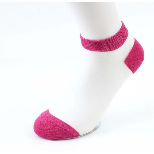 Socken Lurex weiße Socken-Fuchsia Doppelpack