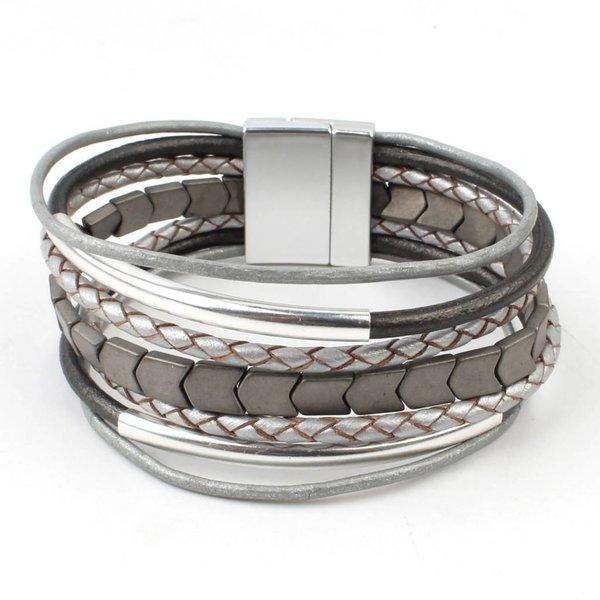 Armband multi rijen, grijs