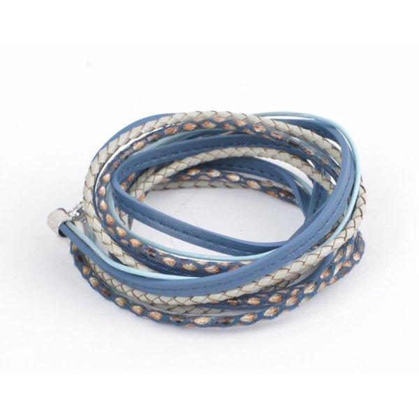 Wikkelarmband leder, blauw