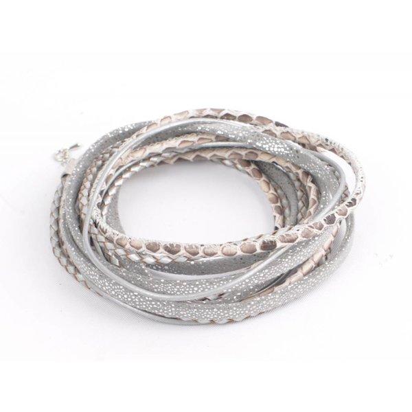 Wikkelarmband leder, grijs