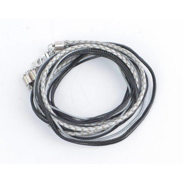 Wikkelarmband leder, zwart