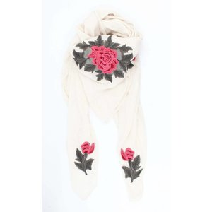 "Scarf ""Roses"" square white"