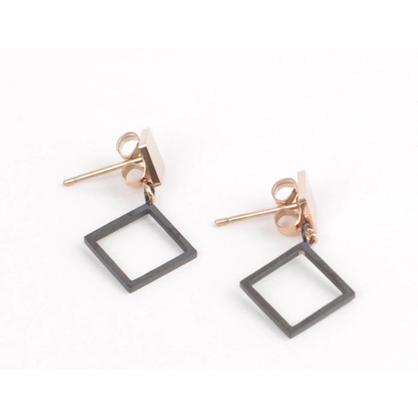 Earring square with diamond black/rosé