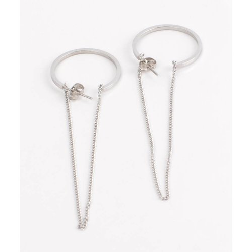 Earring Creole with chain silver