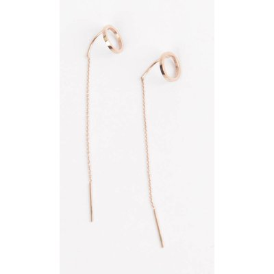 Earring round with string stainless steel rosé