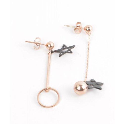 Earring star-ring-ballete Rahman/black