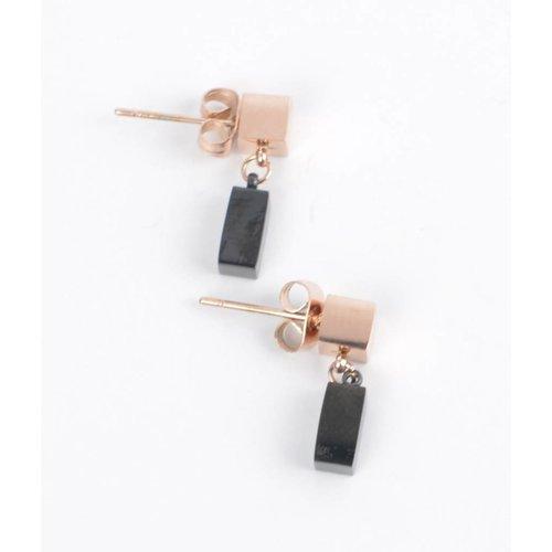 Earring 2 blocks black/rosé