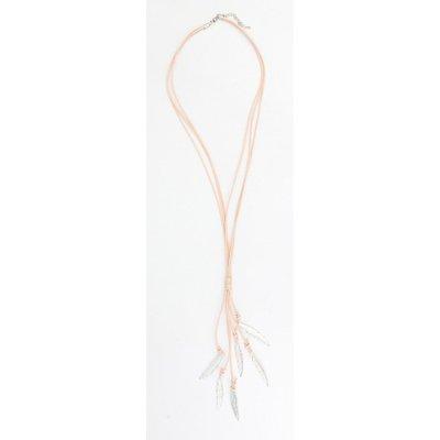 Lange Leder Halskette mit Metallfedern taupe