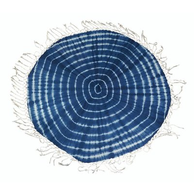 Ronde sjaal met rondom slierten, blauw (710076)