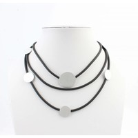 """Necklace rubber """"triple row"""" silver"""