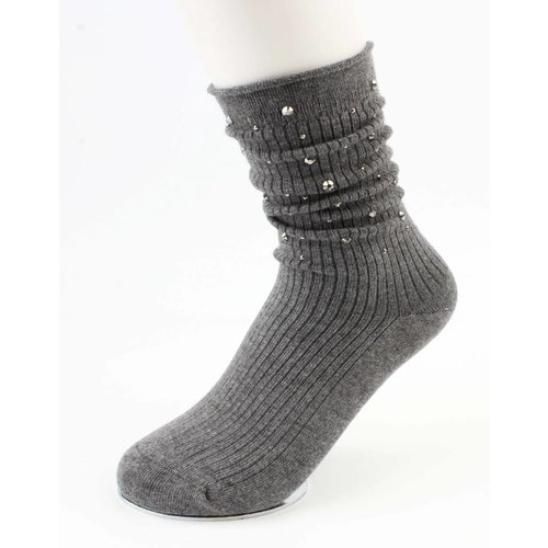 "Socken ""Strass"" grau"