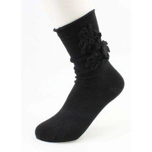 """Socks """"Crochet Flower"""" black"""