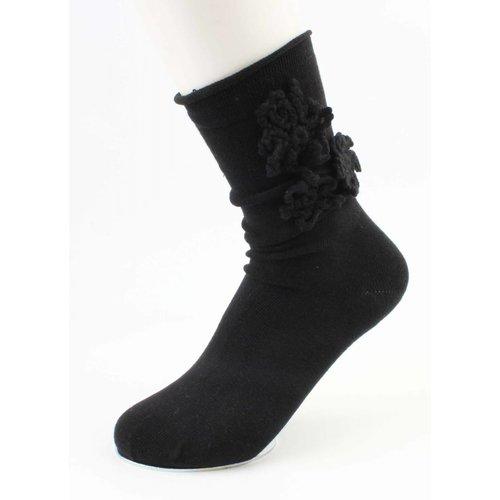 """Socken """"Häkelblume"""" schwarz"""