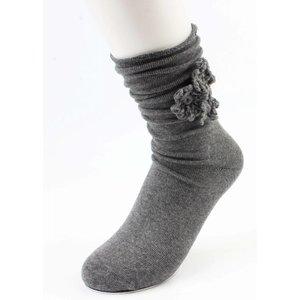 """Socks """"Crochet Flower"""" grey"""