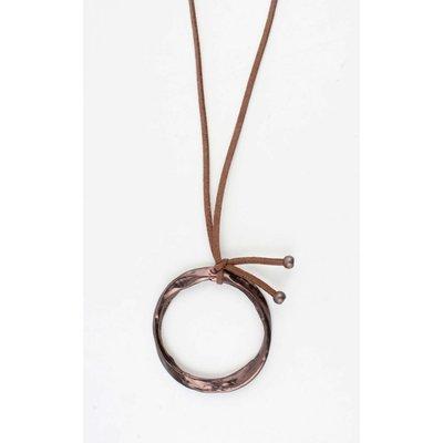 """Lange Halskette """"Gedreht Ring"""" braun"""