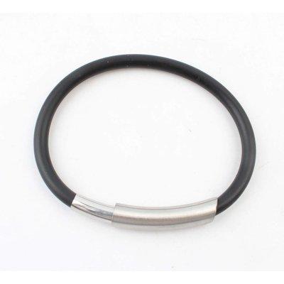 Armband Gummi Edelstahl mit Magnetverschluss, schwarz