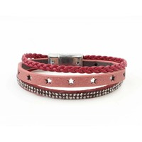 """Armband 3-rijen """"ster"""" rood"""