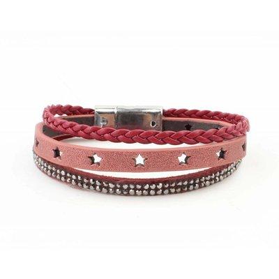 "Armband 3-reihig ""Star"" mit magnetverschluss, rot"