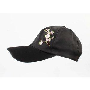 """Kappe """"Japanische Blume"""" schwarz"""