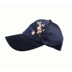 """Kappe """"Japanische Blume"""" blau"""