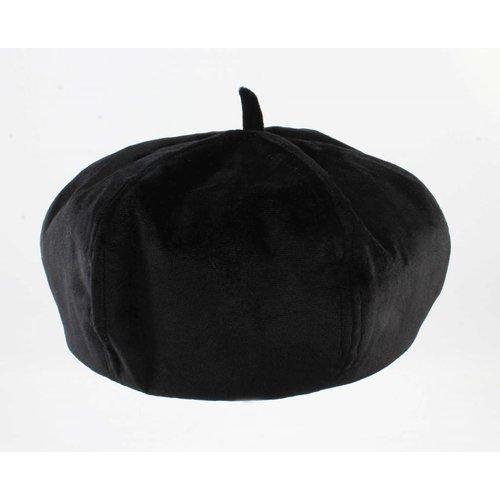 "Franse barret ""Fluweel"" zwart"