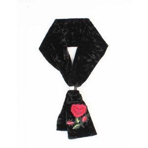 """Sjaal """"Gestikt roos"""" zwart"""