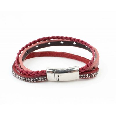 "Bracelet 3-rows ""Star"" with magnetic seal, Red"