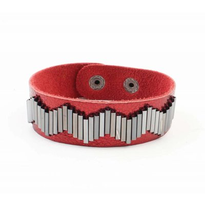 "Bracelet ""Metal pipes"" Red"