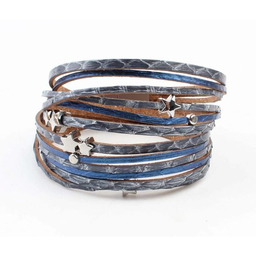 "Bracelet multi row ""snake"" jeans"