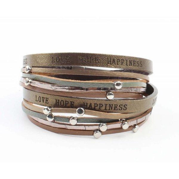 "Armband ""Love hope happiness"" bruin"