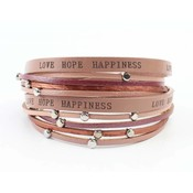 "Bracelet ""Love hope happiness"" pink"