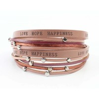 "Bracelet ""Love hope happiness"" pink"