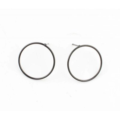 "Earring ""Round"" Stainless steel anthracite"
