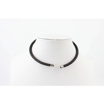 """Kurze Halskette """"Strass"""" schwarz"""