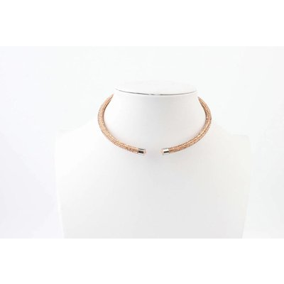 "Short necklace ""Rhinestone"" brown"