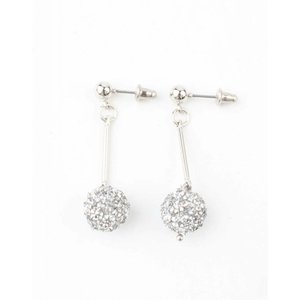 "Earring ""Rhinestone ball"" silver"