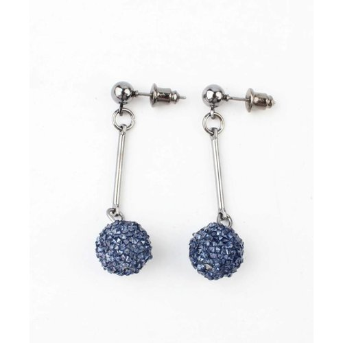 "Earring ""Rhinestone ball"" blue"