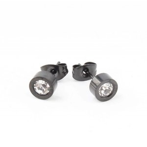 "Earring ""Rhinestone"" stainless steel anthracite"