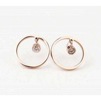 Earring rhinestone circle stainless steel rosé