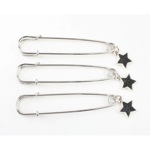 "Pin ""Star"" black, per 3pcs."
