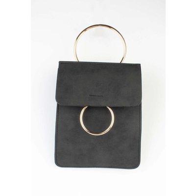 """Crossbody tas """"Dubbel ring"""" zwart"""