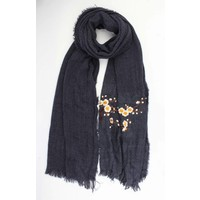 "Scarf ""Embroidered Japanese rosés"" blue"
