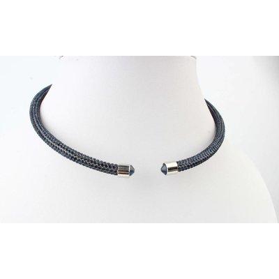 """Kurze Halskette """"Strass"""" blau"""