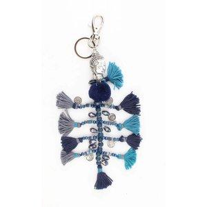 """Keychain """"Buddha"""" blue"""