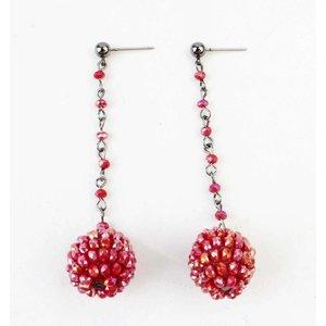 """Earring """"Rhinestone ball"""" red"""