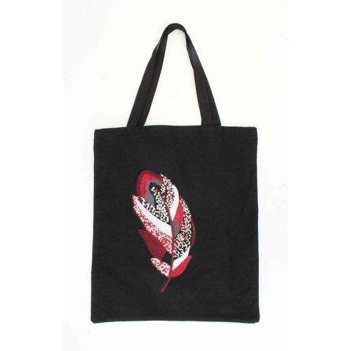 "Shopper canvas ""Leaf"" black"
