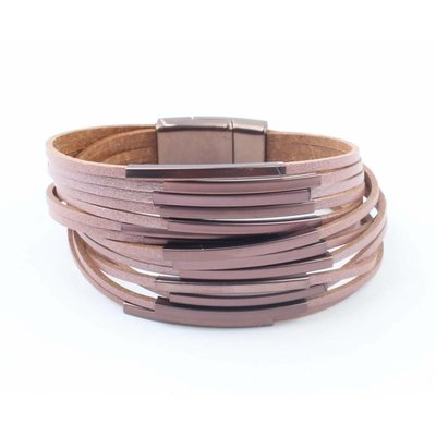 "Leather bracelet ""Multi Tubes"" pink"