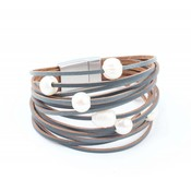 "Leather bracelet ""Freshwater pearls"" grey"